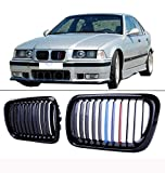 #3: AUTOKAY Pair Front Gloss Black M Style Kidney Grille Grill For BMW E36 M3 3 Series 97-99