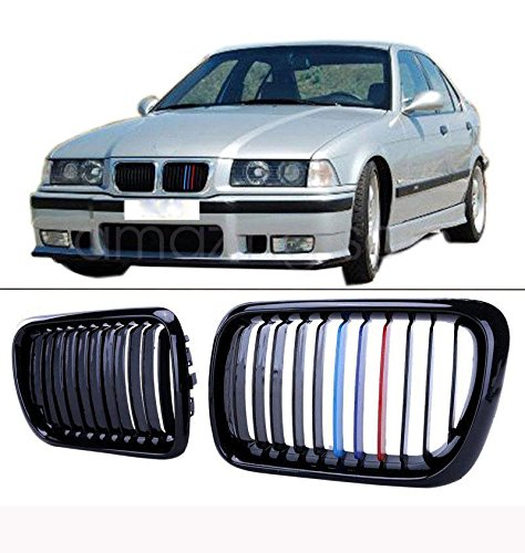 E36 Grill - AUTOKAY A Pair of Front Gloss Black M Style Kidney Grille Grill For BMW E36 M3 3 Series 97-99