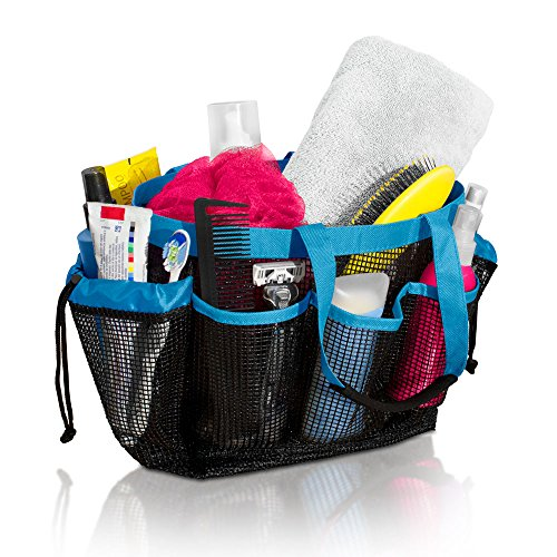 Simply Things Mesh Shower and Bath Organizer with 9 Storage Compartments and  Durable Handles and Loofah, Blue Plastic Bag Caddy