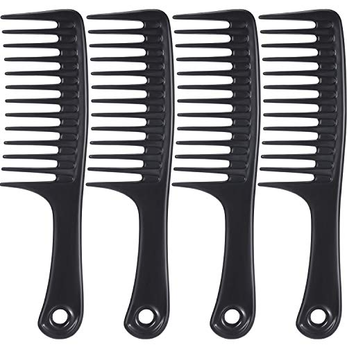 TecUnite 4 Pieces 9 1/2 Inches Anti-static Large Tooth Detangle Comb, Wide Tooth Hair Comb Salon Shampoo Comb for Thick Hair Long Hair and Curly Hair (Black)