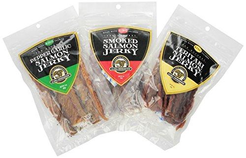 Alaska Smokehouse Smoked Salmon Jerky Trio Original, Pepper Garlic Teriyaki, 9 Ounce (Garlic Smoked Salmon Pepper)