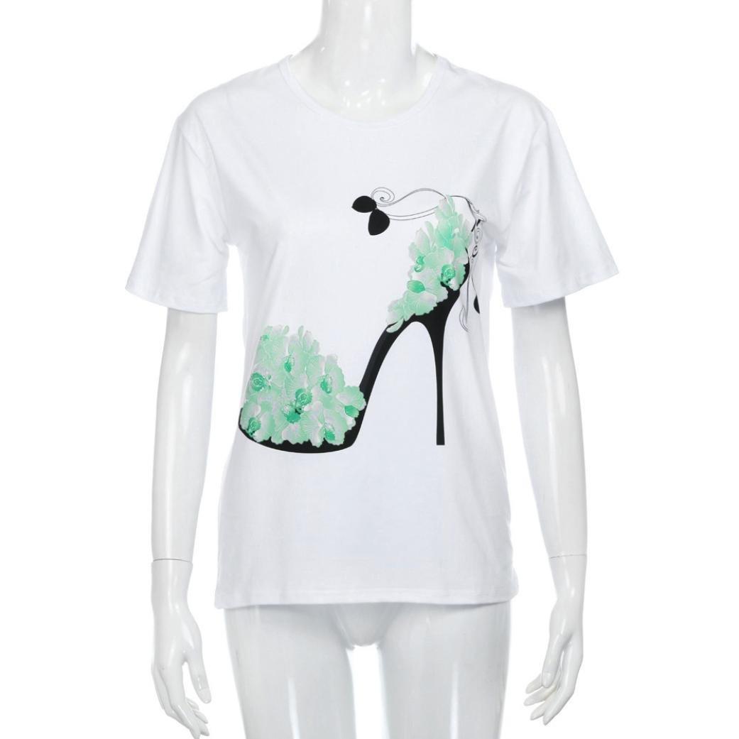 OVERDOSE Frauen Kurzarm Blumen Pumps Gedruckt Tops Strand Beil/äufige Lose Bluse Top T-Shirt