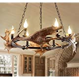 RLYYBE Ceiling Lamp American Rustic 6-Head LED Ceiling Light with Iron Shade for Bar Coffee House Bedroom Living Room Hallway Entry Balcony Kitchen Dining Room and Studying Room Diameter 750mm*900mm