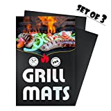 Homitt Grill Mat (Set of 3) Heavy Duty Non Stick BBQ Grilling Pad for Oven, Electric Gas Charcoal Barbeque Gill - 1 x 23.615.75 & 2 x 15.7513 Inch