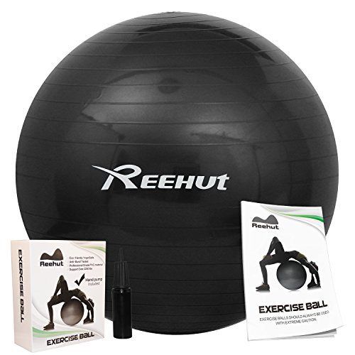 Reehut Anti-Burst Core Exercise Ball w/ Pump & Manual for Yoga, Workout, Fitness (Black, 45cm)