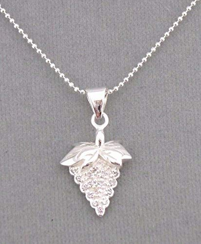 Grapes Pendant Necklace For Women Silver Cubic Zirconia NEW ()