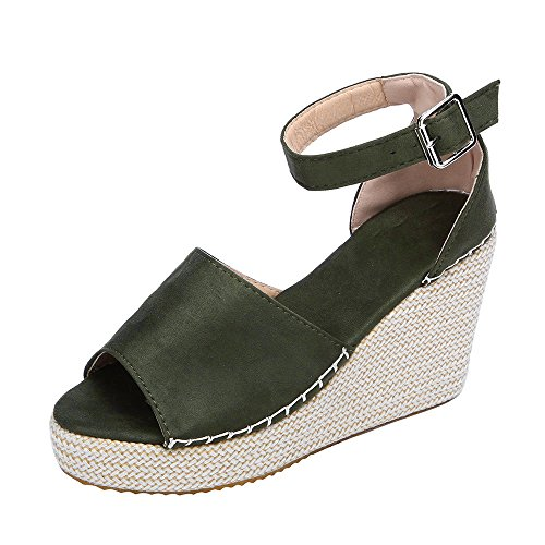 HAALIFE◕‿Womens Espadrille Wedges peep Toe Heel Sandals Summer Ankle Strap Platform Faux Leather Cork High Heels Green