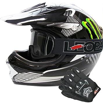 Leopard LEO-X18 Casco de Motocross para Niños & Guantes y Gafas de Motocross para