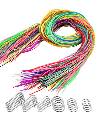 Apipi 220 Pieces Scoubidou Strings Plastic Lacing String Craft Gimp String Multi-Color DIY Craft Cord Jewelry Making Pack with Snap Clip Hooks Keychain Ring Clips, 656-Feet, 16 Colors -