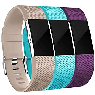 Maledan Bands Replacement Compatible with Fitbit Charge 2, 3 Pack, Beige/Teal/Plum, Small