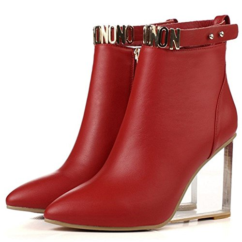 Wedges Short Red Heel Ankle High Zipper Taoffen Fashion Women With Boots n1x0qnTYw