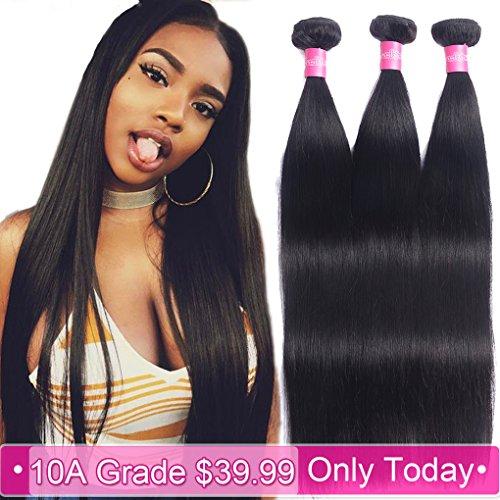 10A Brazilian Hair 3 Bundles Straight Human Hair 10 12 14 100% Unprocessed Brazilian Straight Virgin Hair Weave Bundles Extensions Natural Color