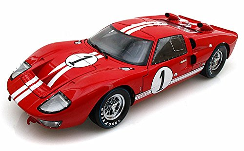 1966 Ford GT-40 MK II #1, Red w/ White Stripes - Shelby SC407 - 1/18 Scale Diecast Model Toy Car by Shelby Collect