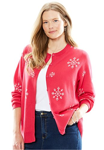 Cute Plus Size Snowflake Cardigan in Red