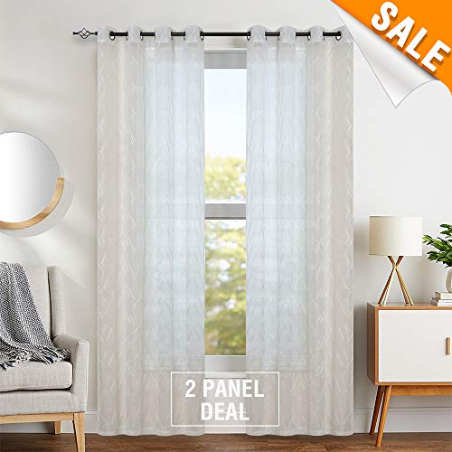 Contemporary Drapery - Geo metry White Sheer Curtains for Living Room Embroidered Contemporary Lattice Window Treatment Set for Bedroom 1 Pair 84