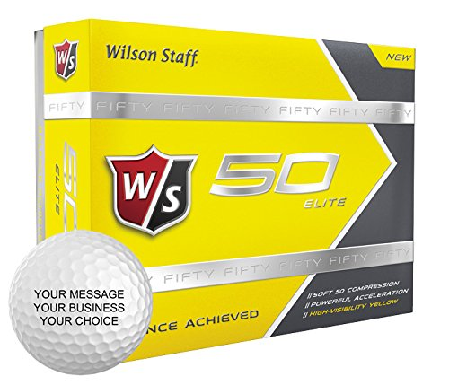 Wilson Staff 50 Elite Personalized Golf Balls - Add Your Own Text (12 Dozen) - Yellow