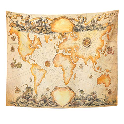 (Emvency Decor Wall Tapestry Parchment Large Ancient Map of The World Vignettes Compasses Dragons and Sailboats Abstract Wall Hanging Picnic for Bedroom Living Room Dorm 80x60 Inches)