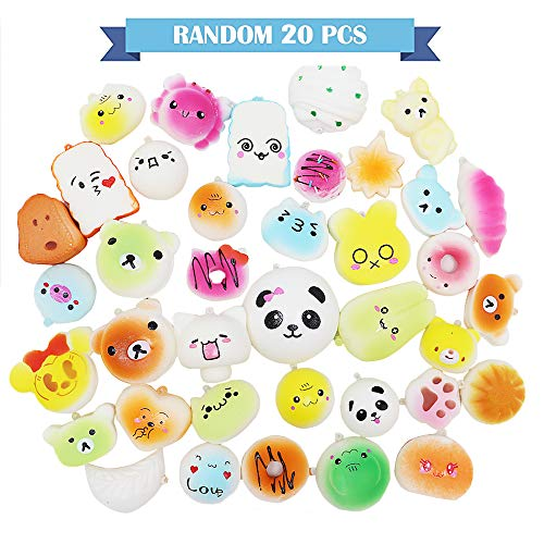 VCOSTORE Squishies Pack Random 20 pcs, Slow Rising Squishy Foods Animals Squishy Set Soft Scented Squeeze Toys Stress Relief Kids Gift Prize Adult with Phone Straps