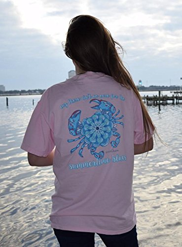 Anna Grace Southern Tee Co Cuz There Aint No Cure for The Summertime Blues - Comfort Colors Short Sleeve Pre-Shrunk 100% Cotton Tee (Pink, X-Large)