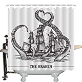 JLBB Nautical Decor Collection, Giant Octopus Catches Old Style Sail Ship Monster Adventure Story Themed Image, Polyester Fabric Bathroom Shower Curtain Set, 75 Inches Long, Black and White
