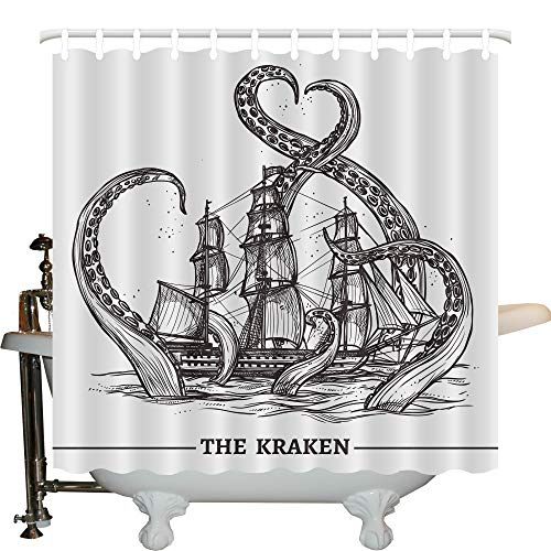 JLBB Nautical Decor Collection, Giant Octopus Catches Old Style Sail Ship Monster Adventure Story Themed Image, Polyester Fabric Bathroom Shower Curtain Set, 75 Inches Long, Black and White by JLBB