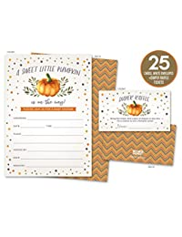 Sweet Little Pumpkin on the Way Rustic Fall Baby Shower Invitations and Diaper Raffle Tickets in Autumn Colors, Fall Leaves, Chevron Stripes. Set of 25 Fill In Style Cards, Envelopes, Raffle Tickets BOBEBE Online Baby Store From New York to Miami and Los Angeles