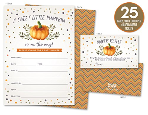 Sweet Little Pumpkin on the Way Rustic Fall Baby Shower Invitations and Diaper Raffle Tickets in Autumn Colors, Fall Leaves, Chevron Stripes. Set of 25 Fill In Style Cards, Envelopes, Raffle Tickets