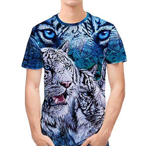 Personality Mens 3D Tiger Print Casual Slim Fit Short-Sleeved Shirt Top Polo Tee Blouse (USS/Lable sizeL, Blue A) ()