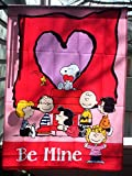 """Peanuts Gang with Snoopy """"Be Mine"""" Valentine's House Flag (28″W X 40″L)"""