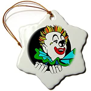 3dRose orn_11155_1 Clown-Snowflake Ornament, 3-Inch, Porcelain