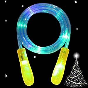 Kids Skipping Rope - AIICIOO Led Jump Rope Flashing Color Funny Toys Gift for Boys Girls Change Colorful Light (Yellow Handle)