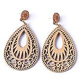 GUAngqi Vintage Teardrop Hollowed Pattern Wood Earrings Boho Ethnic Statement Dangle Drop Earrings for Women Charm Jewelry,Brown Brown