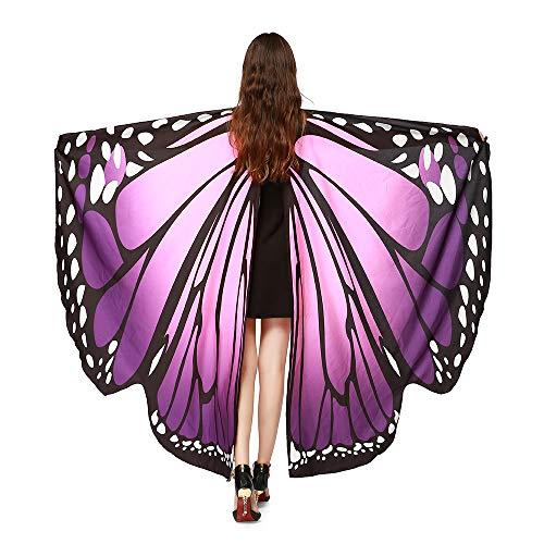 Youth® - Accesorio para Disfraz de Halloween con alas de Mariposa de Tela Suave, Púrpura, Talla única