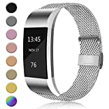 AK MetalLoop Band Compatible with Fitbit Charge 2 Bands, Replacement Stainless Steel Mesh Wristband with Magnet Lock