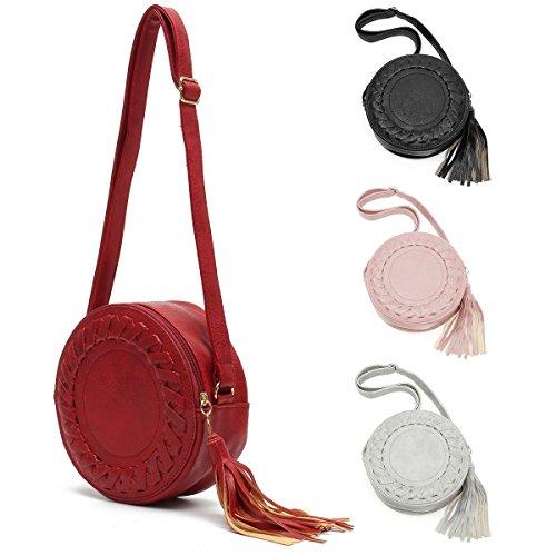Bags with Round Shoulder Purse Women JOSEKO Bag Phone Tassel Crossbody Zipper Red PU Leather Cell pqwFCqB