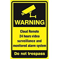 Video Surveillance Sign - Large 18 x 12 inches CCTV Security Alert 24 Hour Surveillance All Activities Are Monitored Sign Outdoor sign Cloud Remote sign Alarm Sign …