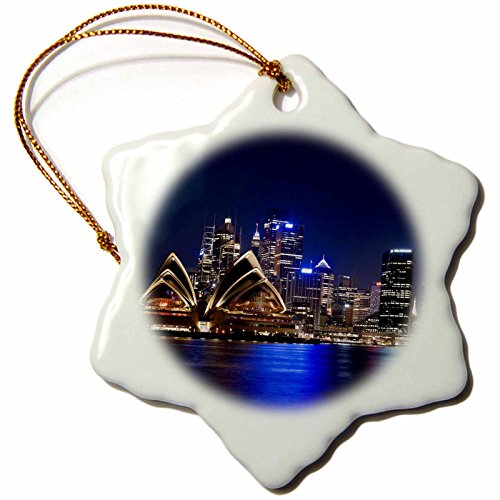 3dRose orn_75409_1 Australia, Sydney, Opera House from Embarkation Park AU01 JMI0108 Janis Miglavs Snowflake Porcelain Ornament, 3-Inch (Opera House Sydney compare prices)