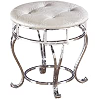 Ashley Furniture Signature Design - Zarollina Vanity Stool - Silver Pearl Base and Upholstered Faux Gator Seat
