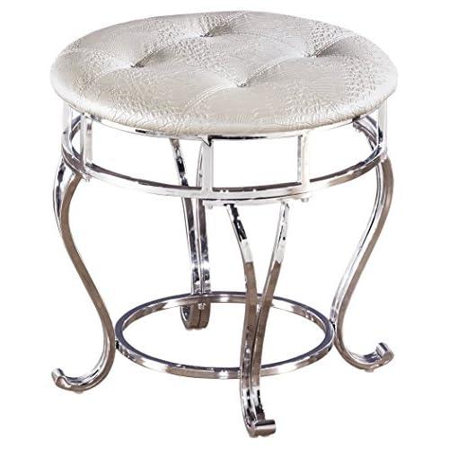 Ashley Furniture Signature Design   Zarollina Vanity Stool   Silver Pearl  Base And Upholstered Faux Gator