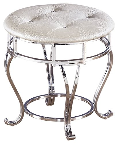 Ashley Furniture Signature Design - Zarollina Vanity Stool - Silver Pearl Base and Upholstered Faux Gator Seat (Furniture Store Signature)