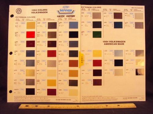 (1984 84 VOLKSWAGEN / VW Dasher, Jetta, Quantum, Rabbit, Scirocco, Truck, & Vanwagon Paint Colors Chip Page)