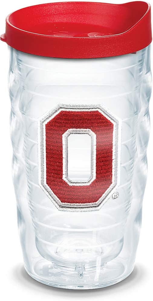 Tervis Ohio State Buckeyes Block O Insulated Tumbler with Emblem and Red Lid, 10oz Wavy, Clear