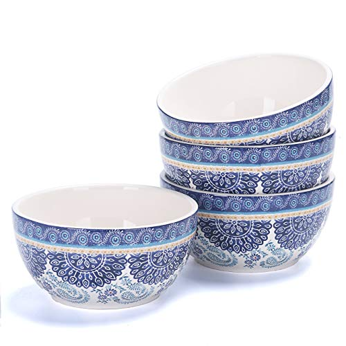 Bico Blue Talavera Ceramic 26oz Cereal Soup Bowls Set of 4, for Pasta, Salad, Cereal, Soup & Microwave & Dishwasher Safe, House Warming Birthday Anniversary Gift