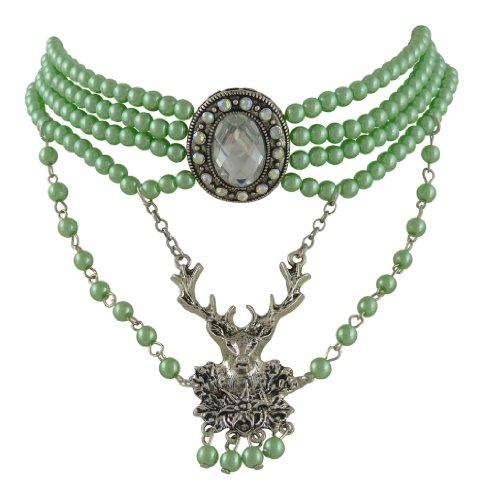 Edel Trachtenschmuck Perlen Kristall Kropfkette grün - Lindgrün - mit Hirsch-Anhänger