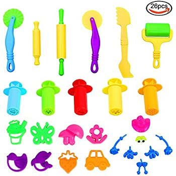 JPSOR 26 Pcs Smart Dough Tools Kit with Molds and Extruder Tools, Animal and Plant Shape, Random Color