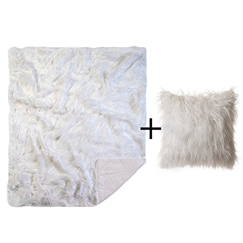 Faux Fur Throw Pillow & Blanket, Mongolian Long Hair White
