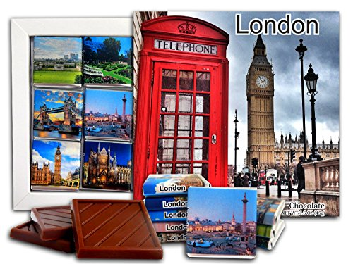 DA CHOCOLATE Candy Souvenir LONDON Capital of England Chocolate Gift Set 5x5in 1 box (Big Ben - Gardens Victoria Map Stores