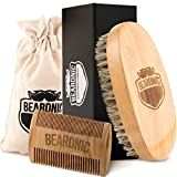 Facial Hair Brush - Beardnic Beard Brush & Beard Comb Kit by All-Natural Handmade Set with Beautiful Cotton Travel Pouch and Magnetic Gift Box | Sturdy Boar Bristles for Facial Hair Grooming