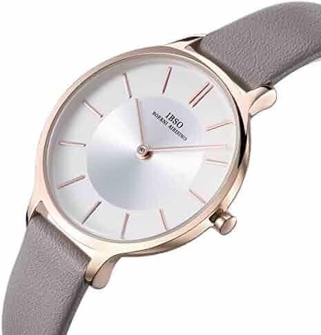 00f3c4fe8 Women Leather Strap Round Watch Fashion Simple Ultra-Thin Quartz Analog  Ladies Elegant Wristwatch (