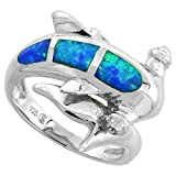 Sterling Silver Synthetic Opal Inlay Hammerhead Shark Ring, 3/4 inch wide, size 7
